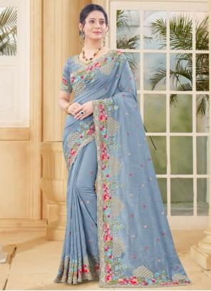 Vichitra Silk Grey Traditional Designer Saree