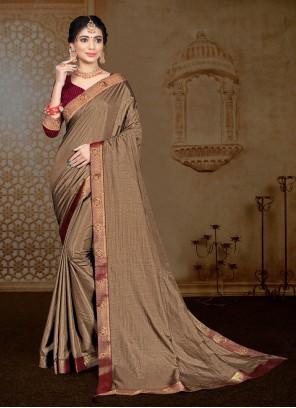 Vichitra Silk Lace Brown Classic Saree