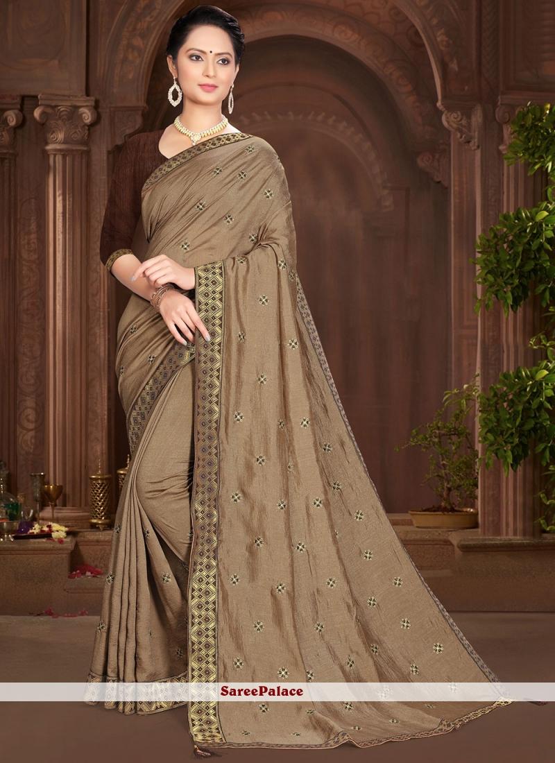 Vichitra Silk Lace Brown Traditional Saree