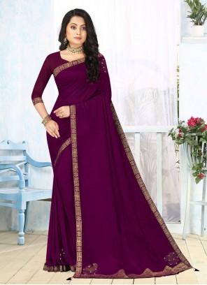 Vichitra Silk Lace Purple Classic Saree