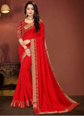 Vichitra Silk Lace Red Classic Saree