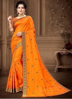 Vichitra Silk Lace Work Saree in Yellow