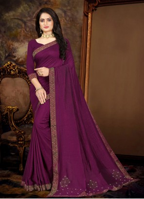Purple Vichitra Silk Lace Traditional Saree