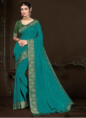 Vichitra Silk Lace Traditional Saree