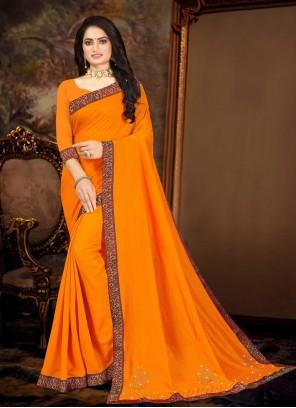 Vichitra Silk Lace Yellow Traditional Saree