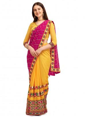 Vichitra Silk Magenta and Yellow Half N Half  Saree