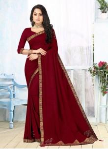 Vichitra Silk Maroon Lace Classic Saree