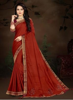 Vichitra Silk Maroon Lace Traditional Saree