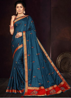 Vichitra Silk Navy Blue Embroidered Traditional Saree