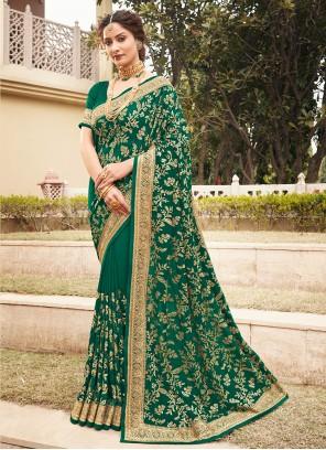 Vichitra Silk Patch Border Designer Saree in Green