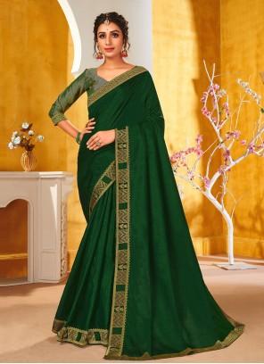Vichitra Silk Patch Border Green Traditional Saree