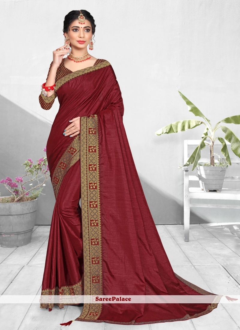 Vichitra Silk Patch Border Maroon Designer Traditional Saree