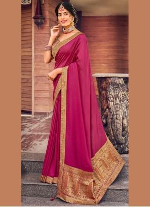 Vichitra Silk Pink Fancy Traditional Saree