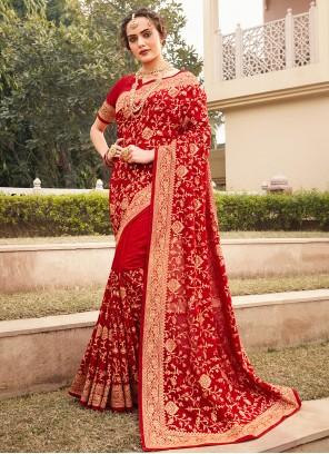 Vichitra Silk Red Designer Saree