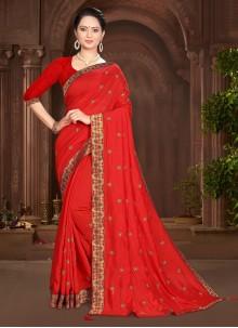 Vichitra Silk Red Lace Traditional Saree
