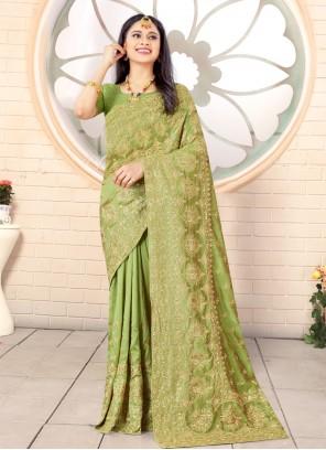 Vichitra Silk Stone Work Traditional Designer Saree