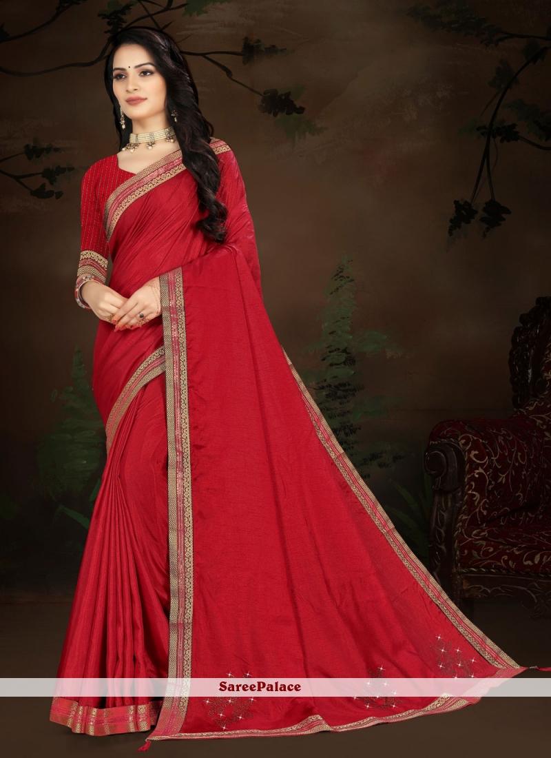 Vichitra Silk Traditional Designer Saree in Red