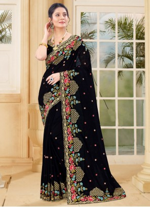 Black Vichitra Silk Traditional Saree