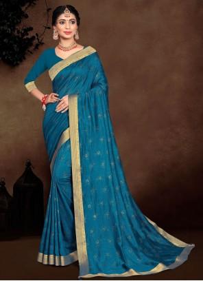Vichitra Silk Blue Traditional Saree