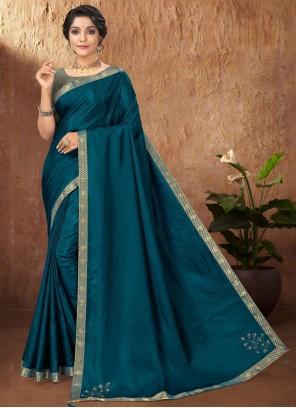 Vichitra Silk Traditional Saree in Teal