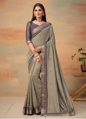 Vichitra Silk Woven Grey Traditional Saree