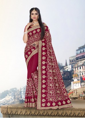 Vichitra Silk Zari Trendy Saree in Rani