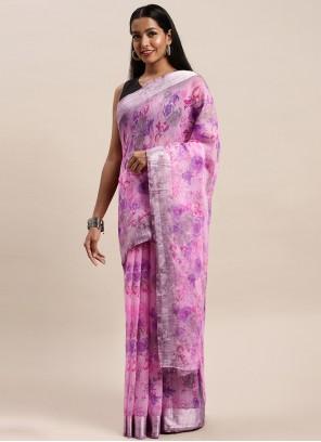 Violet Festival Cotton Printed Saree