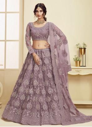 Violet Net Engagement Lehenga Choli