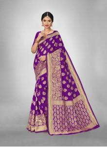 Violet Weaving Zari Silk Saree