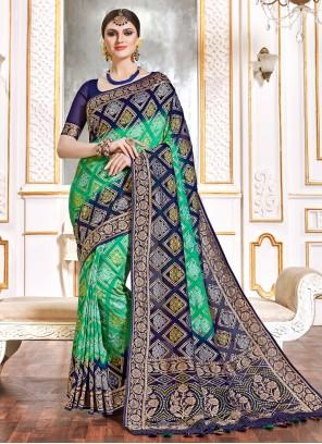 Viscose Blue and Green Bollywood Saree