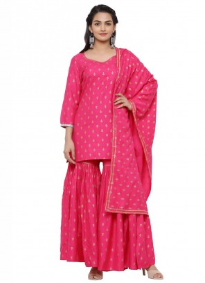 Viscose Ceremonial Hot Pink Readymade Suit
