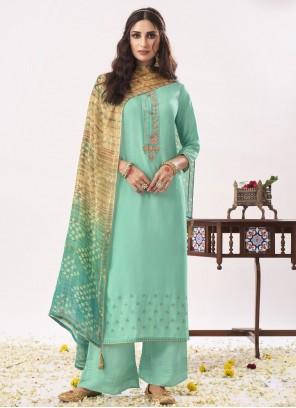 Viscose Designer Pakistani Suit in Aqua Blue