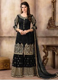 Black Viscose Designer Palazzo Suit