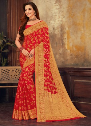 Red Weaving Zari Work Viscose Designer Saree