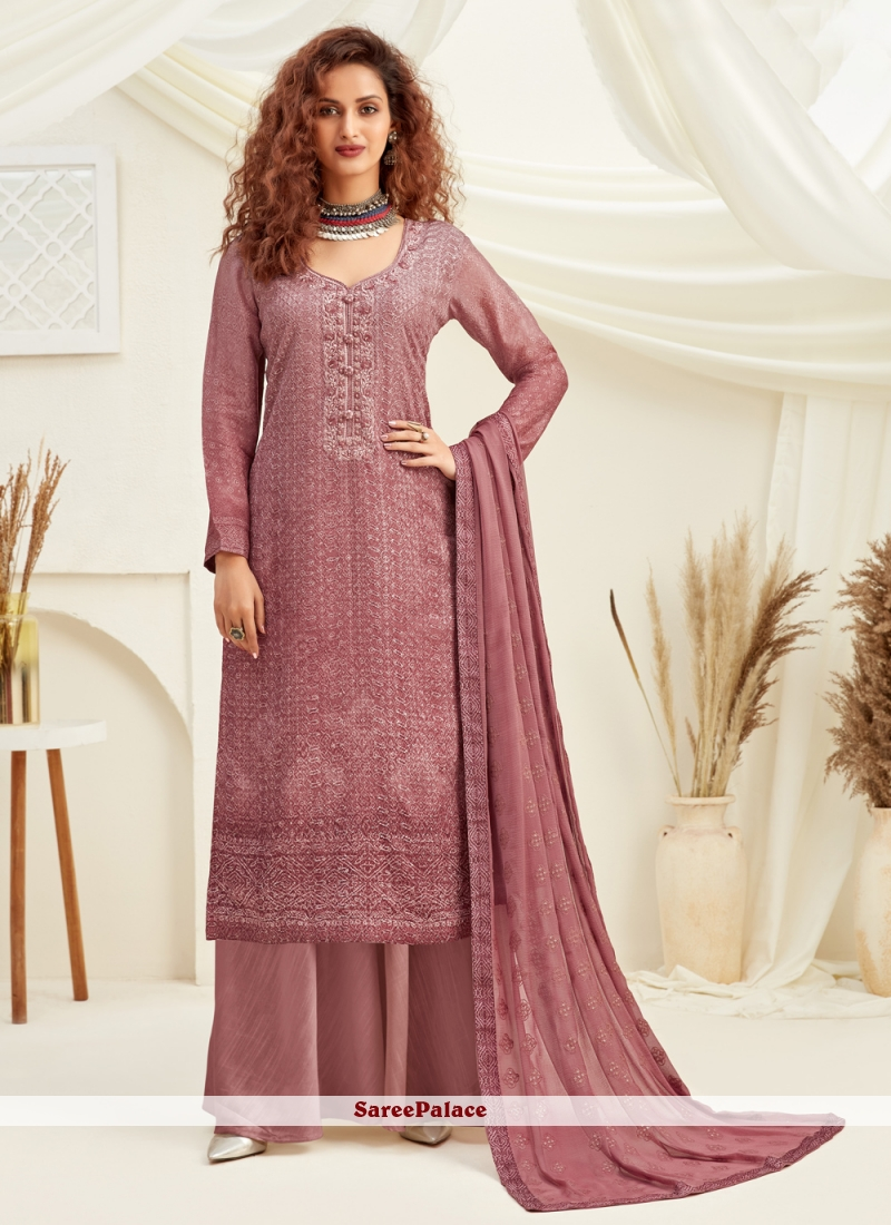 Viscose Embroidered Pink Designer Palazzo Suit