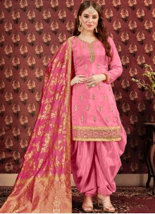 Viscose Embroidered Designer Patiala Suit in Pink