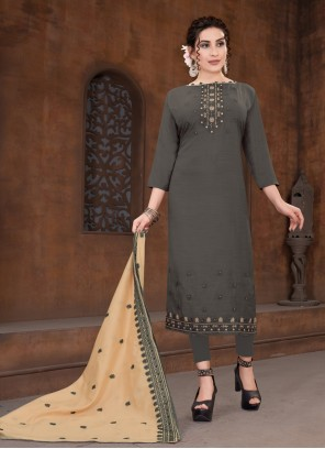 Viscose Embroidered Designer Straight Suit in Grey