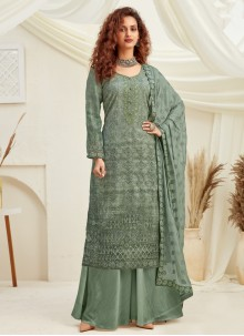 Viscose Embroidered Green Designer Palazzo Suit