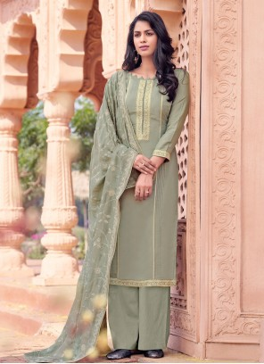Viscose Embroidered Grey Bollywood Salwar Kameez