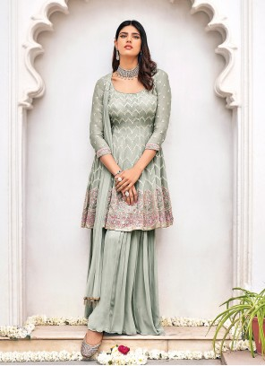 Viscose Embroidered Grey Readymade Suit