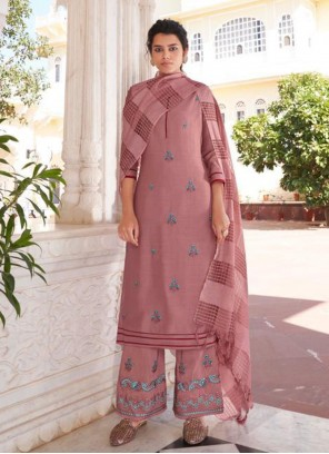 Pink Viscose Embroidered Readymade Suit