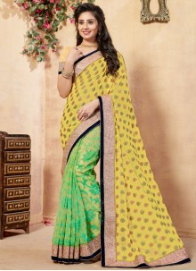 Viscose Embroidered Work Half N Half  Saree
