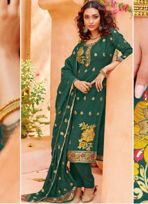 Viscose Green Embroidered Pant Style Suit