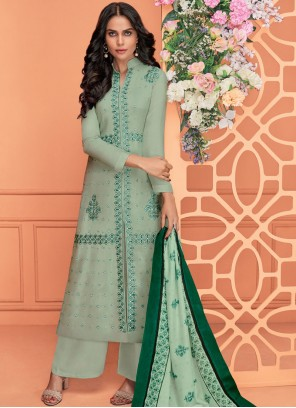 Viscose Green Embroidered Readymade Suit