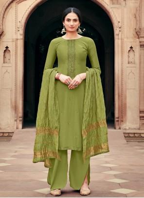 Viscose Green Palazzo Designer Salwar Kameez