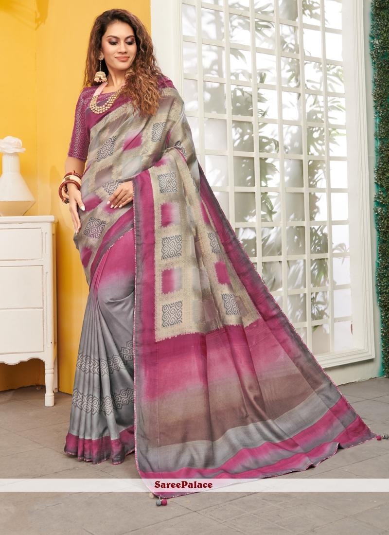 Viscose Grey and Pink Designer Saree