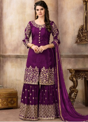 Viscose Lace Purple Designer Pakistani Suit