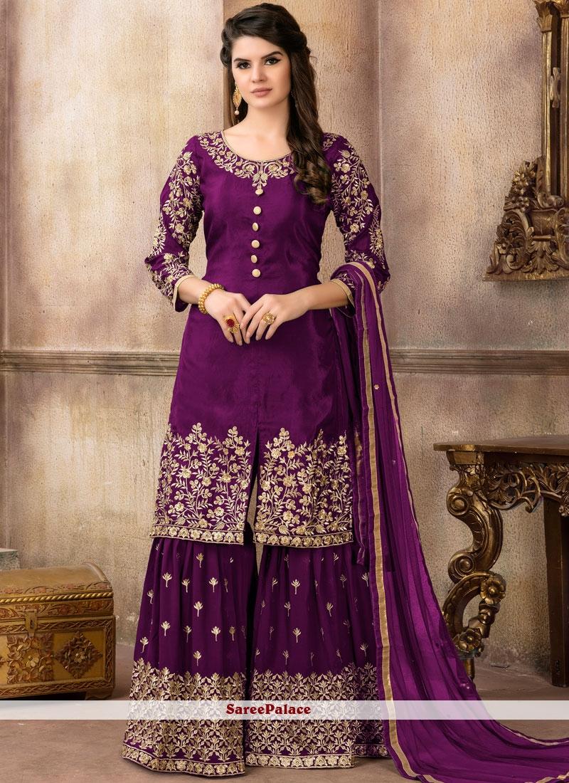 Viscose Lace Purple Designer Pakistani Suit
