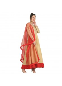 Viscose Machine Embroidery  Red Party Wear Kurti