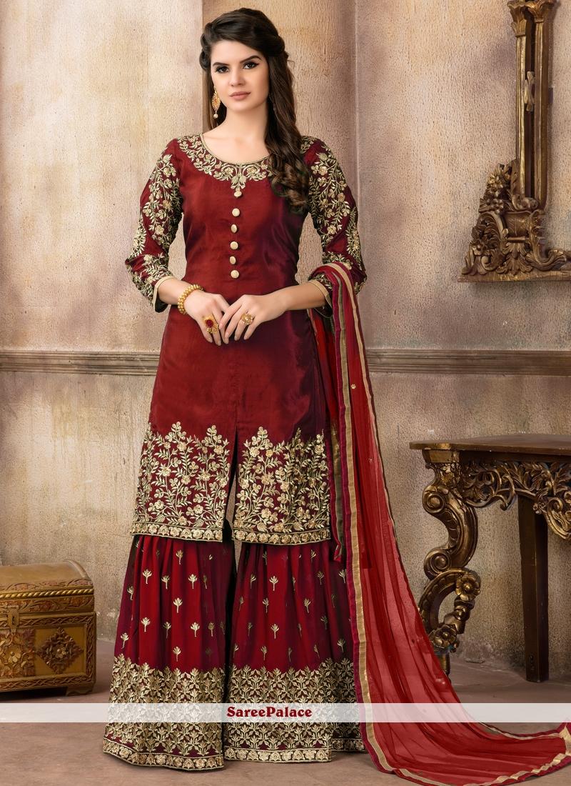 e4fa32aecd0 Buy Viscose Maroon Designer Palazzo Suit Online